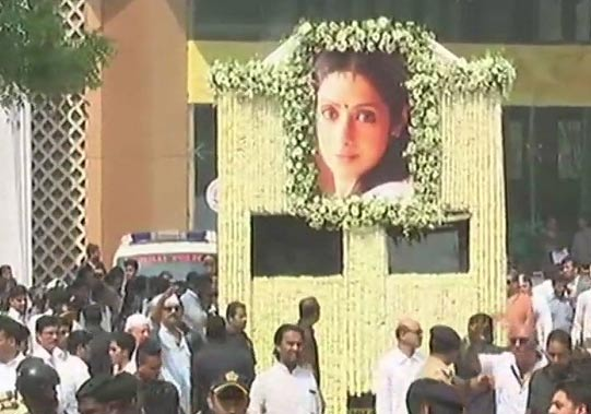 Sridevi to be Cremated with State Honours: Cremation at 3:30 pm