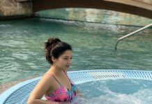Mehreen Pirzada turns water baby, she is chilling in pool