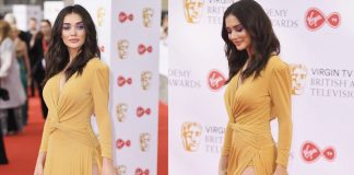 Amy Jackson thigh show ! 2.0 beauty at the BAFTA Awards 2018!