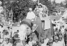 Savitri and Gemini Ganesan Elephant ride