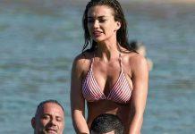 Amy Jackson in bikini on Friend shoulder