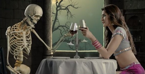 Kriti Sanon clinks glass with ghost skeleton