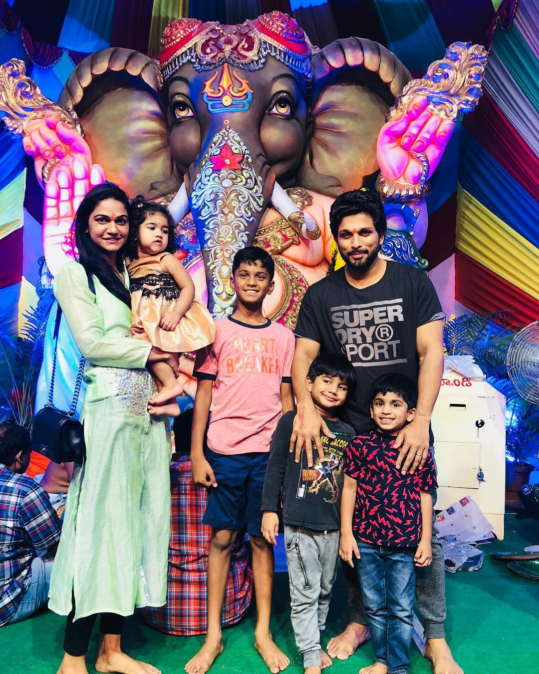 Allu Arjun with Sneha and kids in Ganesh Nimarjan