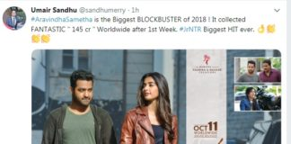 Aravinda Sametha earns Rs 145 Cr