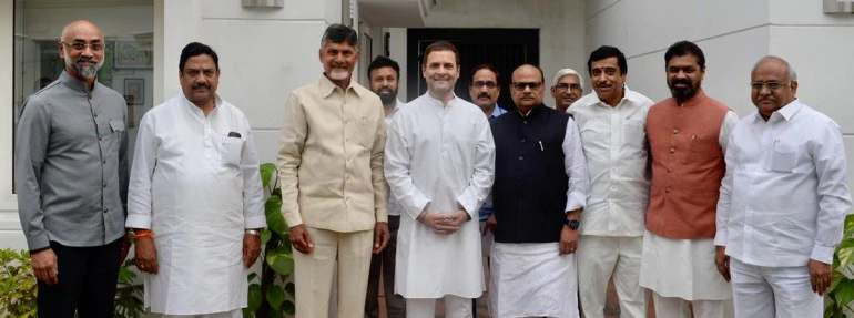 Chandrababu Naidu, Rahul Gandhi join hands to defeat BJP