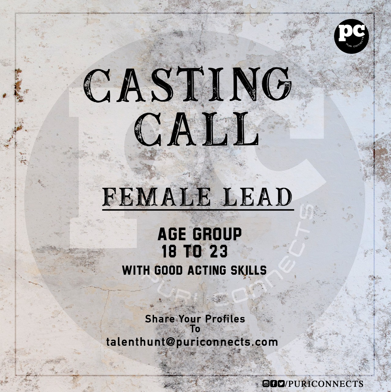 Casting call from Puri Connects forthcoming production