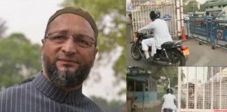 Owaisi reaches KCR house on bike