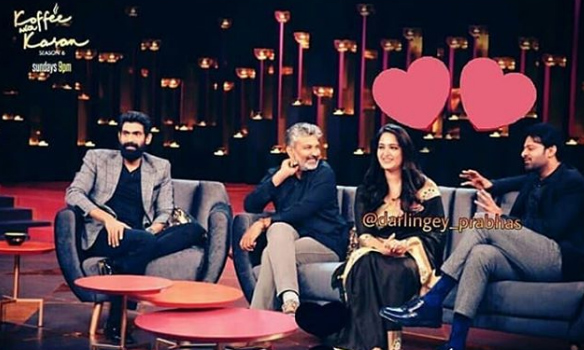 Prabhas with Anushka Shetty, Rana Daggubati and Rajamouli on Karan Johar Koffee with Karan