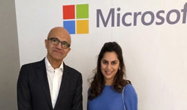 What is Upasana doing with Satya Nadella?
