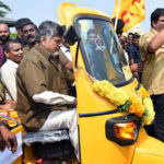 Andhra Pradesh Chief Minister Chandrababu Naidu drives auto rickshaw