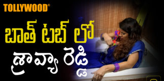 Anchor Shravya reddy in bathtub