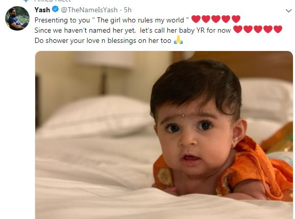 Yash and Radhika Pandit share first picture of their daughter