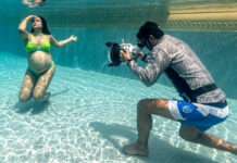 Sameera Reddy underwater maternity Photoshoot