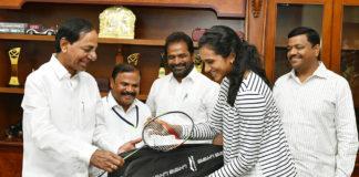 KCR And PV Sindhu