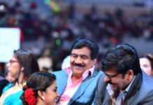Keerthy Suresh taking Chiranjeevi blessing