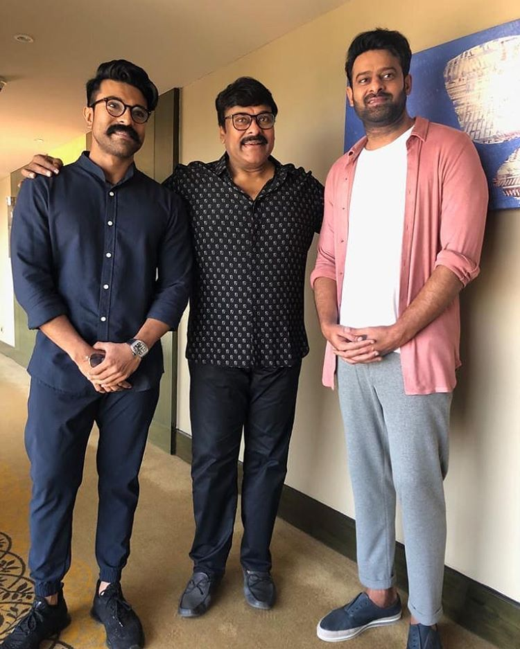 Prabhas with Chiranjeevi and Ram Charan