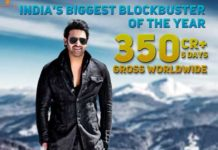 India biggest blockbuster Saaho crosses Rs 350 Cr in 5 Days