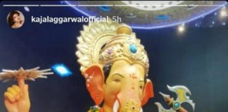 Kajal Aggarwal offers prayers at Lalbaugcha Raja pandal