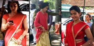 Rashmika Mandanna new traditional look from Sarleru Neekevvaru