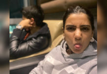 Samantha stuck her tongue out as Naga Chaitanya looked the other way