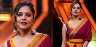 Anasuya throws a punch after grabbing filmfare
