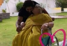 Allu Arjun getting sweet peck on his cheek by grandmother