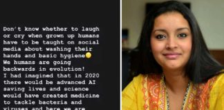 Renu Desai post on Covid-19 Humans are going backwards