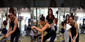 Top actress lungi dance in Gym