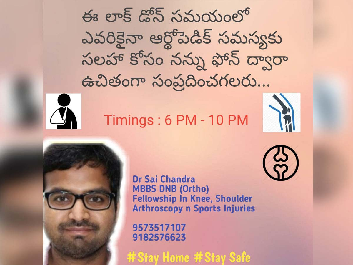 Orthopedic doctor Sai Chandra offering free consultations