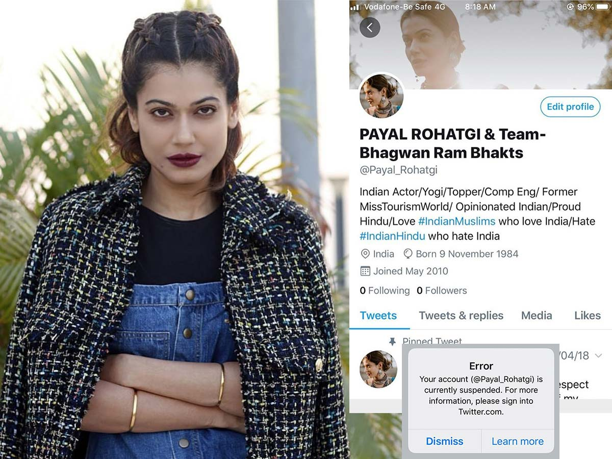 Payal Rohatgi Twitter account suspended