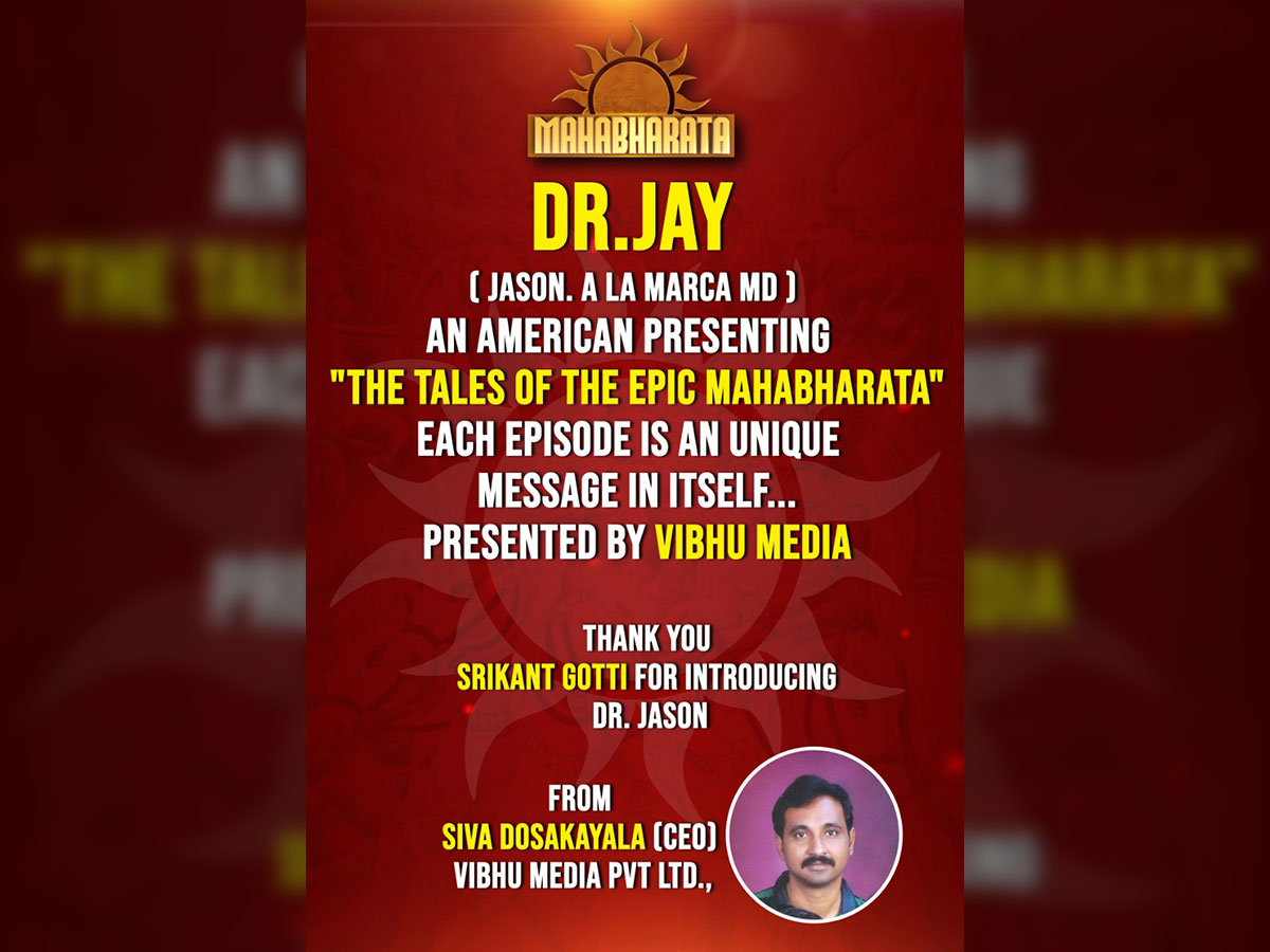Dr Jayson presenting The Tales of The Epic Mahabharata presented by Vibhu Media