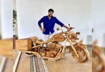 Mohan Babu gifts bike artifact to Chiranjeevi