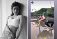 Rashmika Mandanna manages Yoga Pose on beach