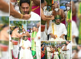 YS Jagan Mohan Reddy offers silk cloths to Lord Venkateswara at Tirumala