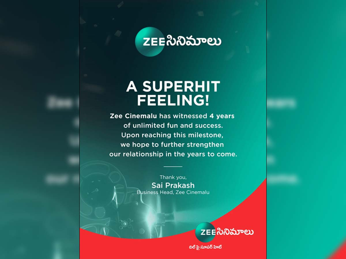 Zee Cinemalu celebrates its 4years of success this anniversary