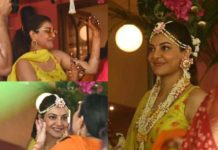 Kajal Aggarwal dancing to the beats of dhol  at her Haldi ceremony