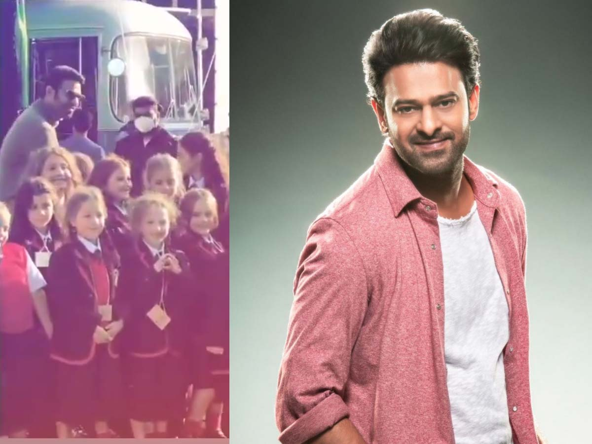 Prabhas behind a bunch of adorable Italian kids