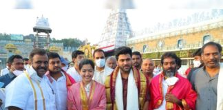 Sharwanand and Rashmika Mandanna in Tirumala temple