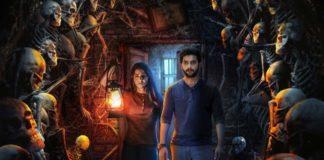 Jungle First Look Aadi Sai Kumar and Vedhika looking at skeletons in dark room