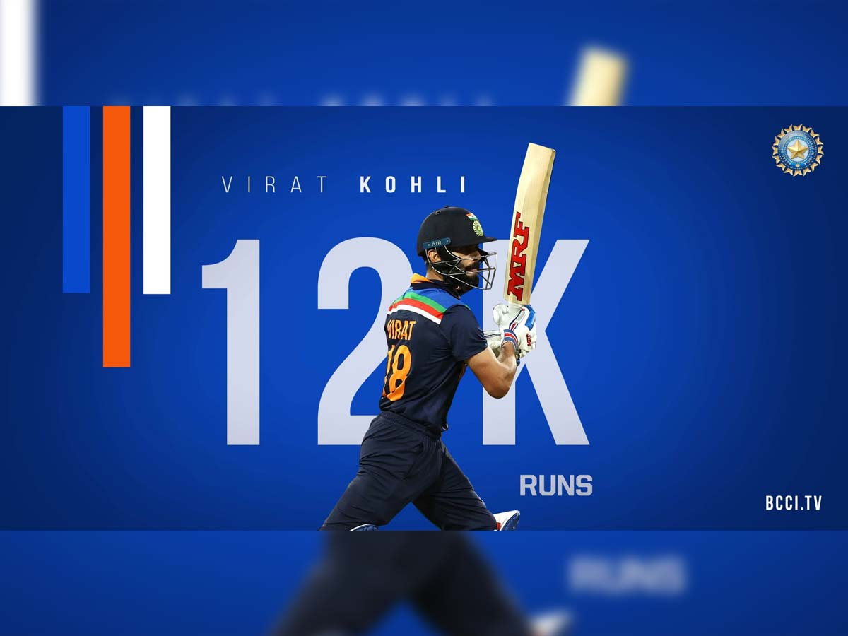 Virat Kohli - Fastest player to score 12,000 runs in 242 ODI innigs