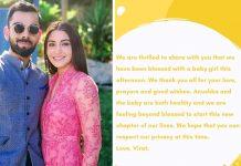 Anushka Sharma, Virat Kohli announce birth of their first child - Baby girl