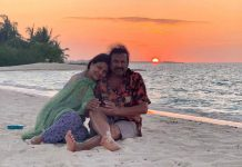 Mohan Babu romantic pose with wife in Maldives