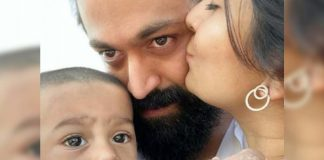 Radhika Pandit plants kiss on Yash cheek