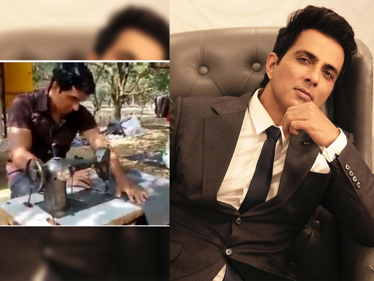 Sonu Sood stitching clothes at tailor shop
