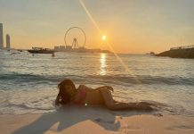 Flaunts bikini body just by lying down on the sands