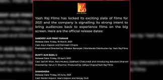 YRF announces release dates of its five films