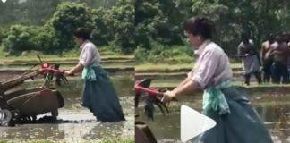 Farmer Rashmika Mandanna ploughing with machine
