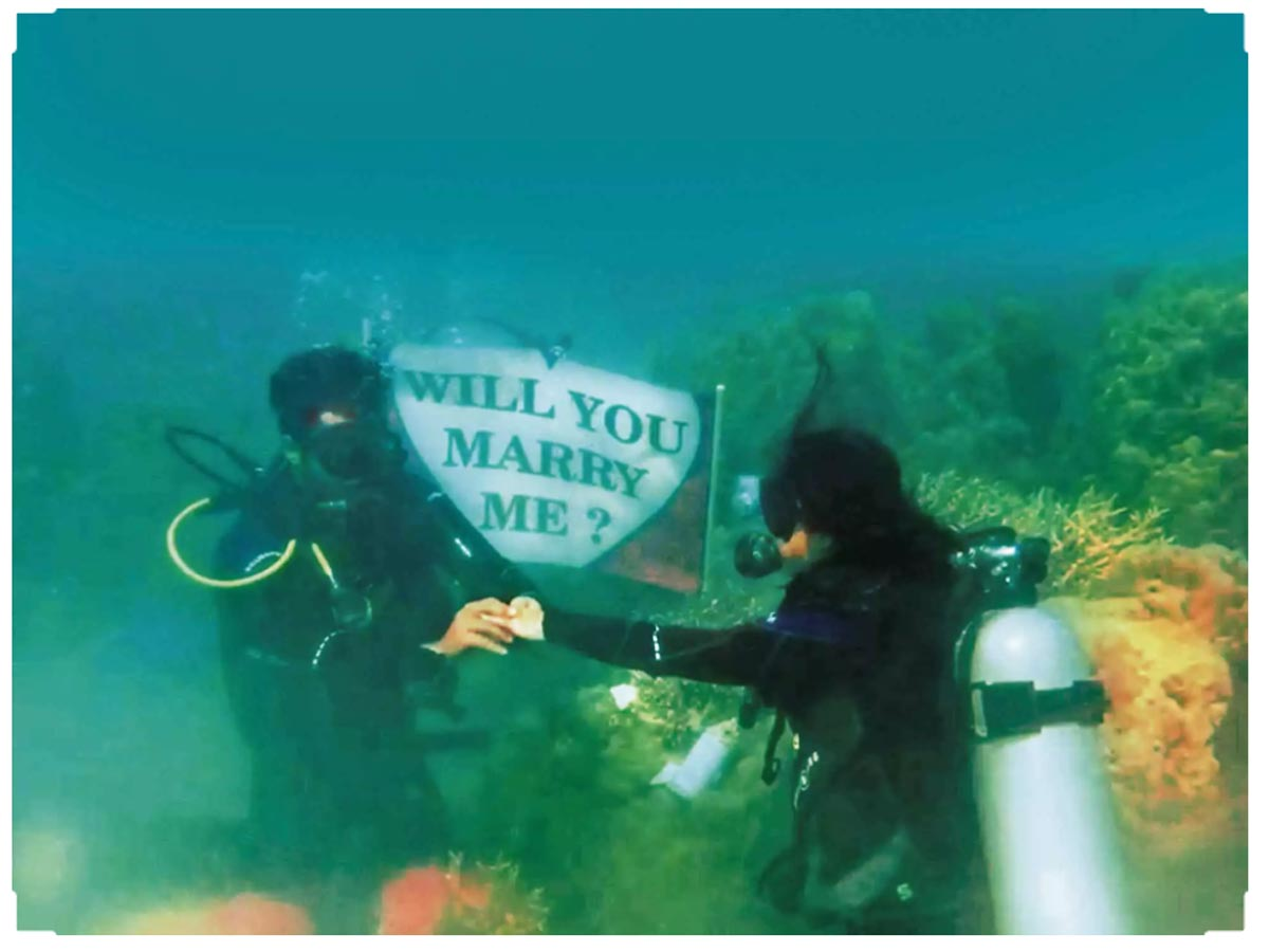 Mehreen Pirzada Bhavya went down on one knee and proposed to be underwater