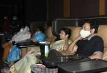 Chiranjeevi and Surekha watch Vakeel Saab in AMB Cinemas