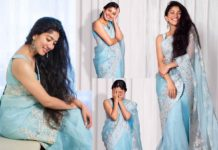 Sai Pallavi's mesmerizing looks in Blue Organza Saree